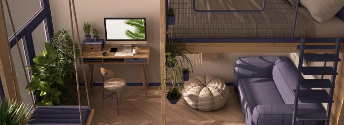 imagem de um quarto com cama e escada, tudo com tons de roxo e cinza
