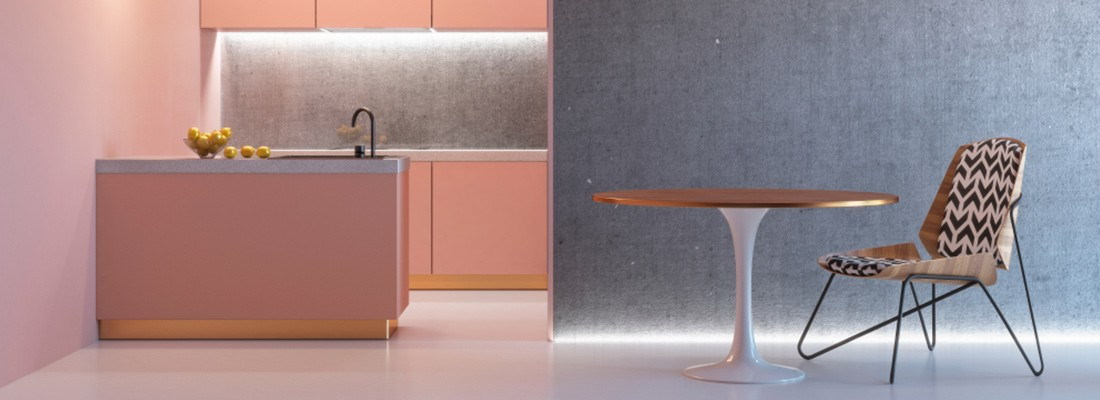 imagem de uma cozinha cor de rosa